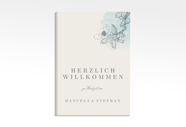 """Willkommensschild Hochzeit """"Artlover"""" 50 x 70 cm Leinwand tuerkis"""
