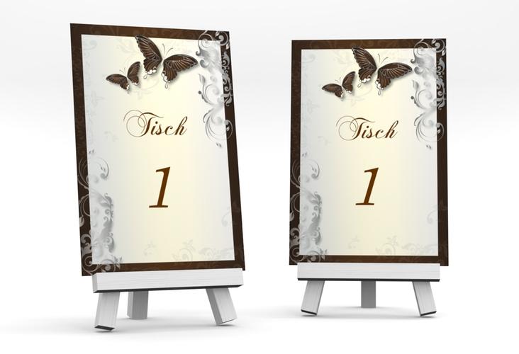 """Tischnummer Hochzeit """"Toulouse"""" Tischaufsteller braun"""