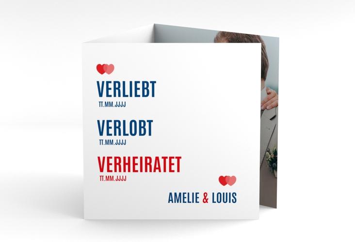 """Dankeskarte Hochzeit """"Couple"""" Quadr. Karte doppelt rot"""