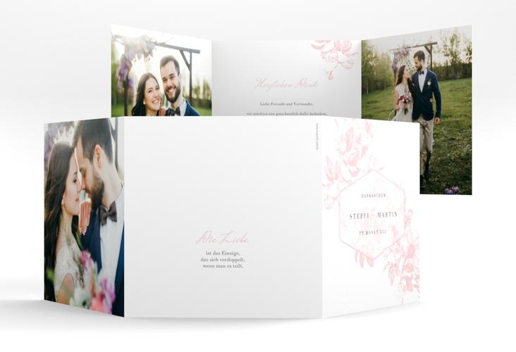"""Dankeskarte Hochzeit """"Magnificent"""" Quadr. Karte doppelt rosa"""