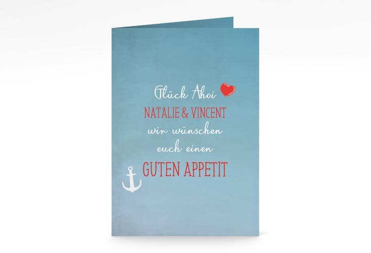 """Menükarte Hochzeit """"Ehehafen"""" DIN A5 geklappt blau"""