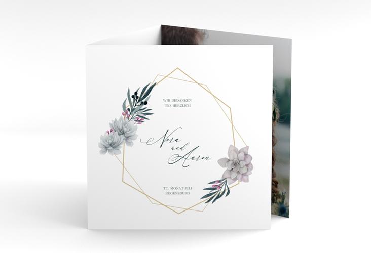 "Danksagungskarte Hochzeit ""Terrarium"" Quadr. Karte doppelt"