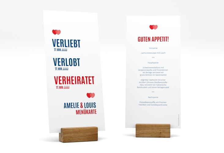 """Menükarte Hochzeit """"Couple"""" DIN lang hoch rot"""