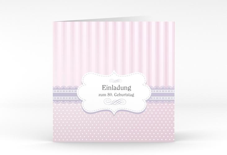 """Einladungskarte """"Heinrich/Henriette"""" Quadratische Klappkarte rosa"""