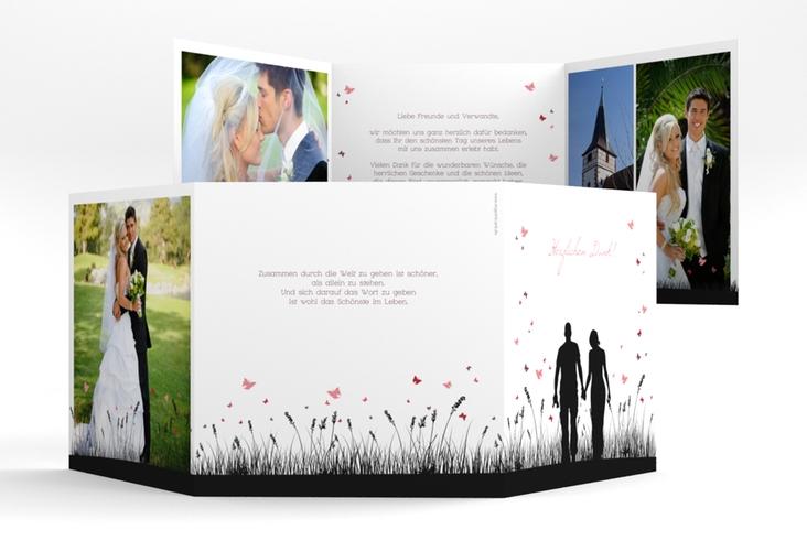 """Danksagungskarte Hochzeit """"Rouen"""" Quadr. Karte doppelt schwarz"""
