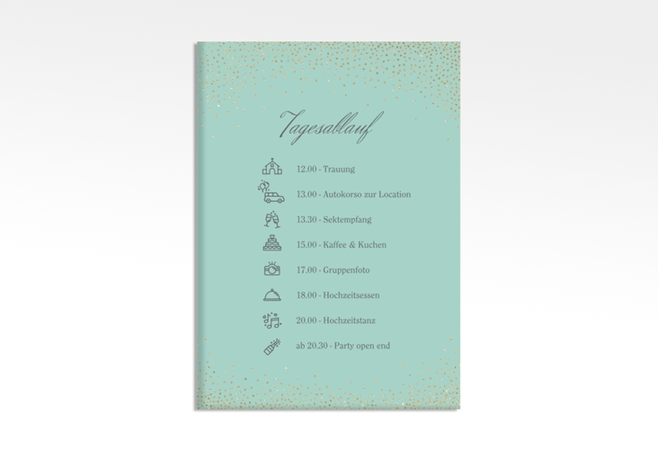 "Tagesablauf Leinwand Hochzeit ""Glitter"" 50 x 70 cm Leinwand mint"