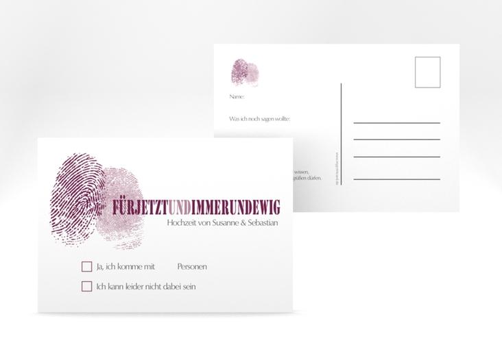 """Antwortkarte Hochzeit """"Messina"""" A6 Postkarte lila"""