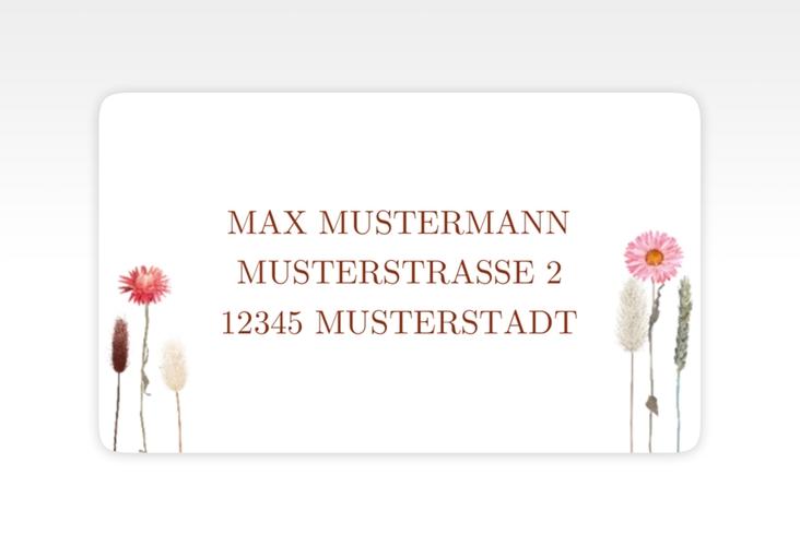 """Empfängeretikett Hochzeit """"Driedflower"""" 63,5 x 38,1 mm weiss"""