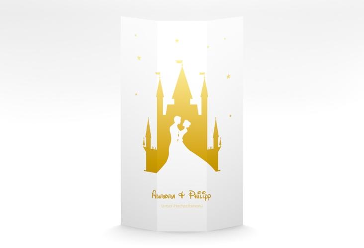 """Menükarte Hochzeit """"Castle"""" DIN A4 Wickelfalz gold"""