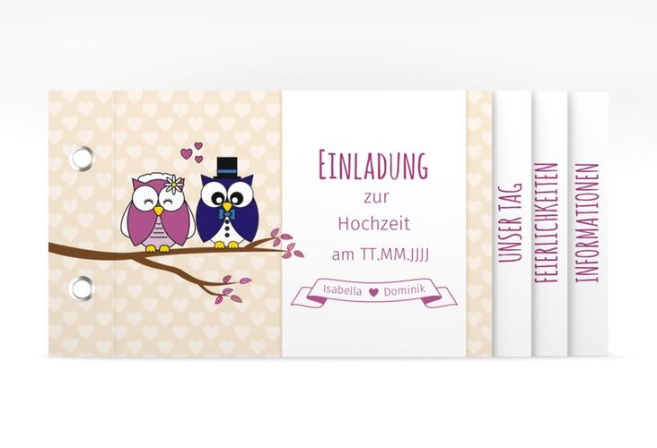 """Hochzeitseinladung """"Eulenliebe"""" Booklet"""
