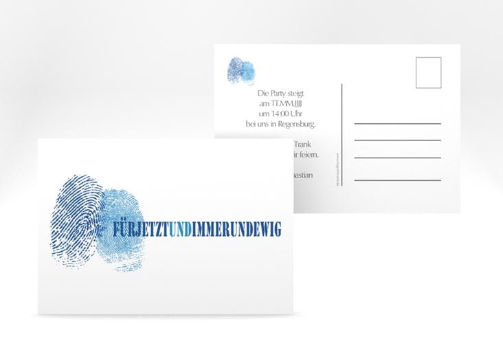 """Verlobungskarte Hochzeit """"Messina"""" A6 Postkarte blau"""