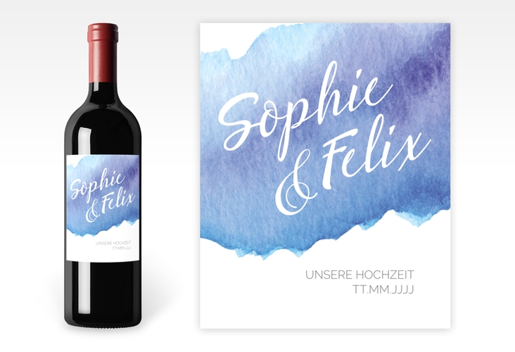 """Weinetikett zur Hochzeit """"Aquarella"""" Etikett Weinflasche 4er Set blau"""