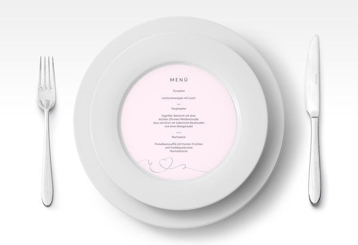 """Menükarte Hochzeit """"Dolce"""" rund rosa"""