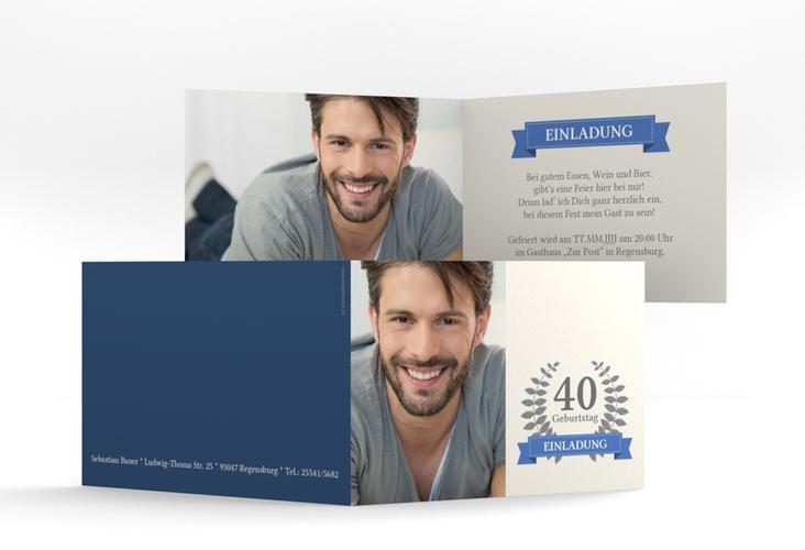 "Einladungskarte ""Pleasure"" A6 Klappkarte Quer blau"