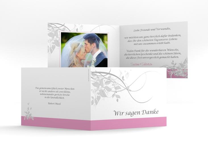 """Danksagungskarte Hochzeit """"Florenz"""" A6 Klappkarte Quer rosa"""