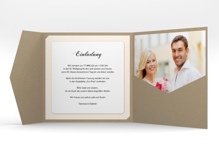 """Hochzeitseinladung """"Sweetheart"""" Pocketfold beige"""