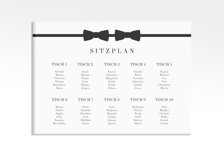 """Sitzplan Leinwand Hochzeit """"Suits"""" 70 x 50 cm Leinwand schwarz"""