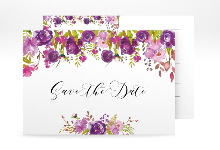 "Save the Date-Postkarte ""Violett"" A6 Postkarte"