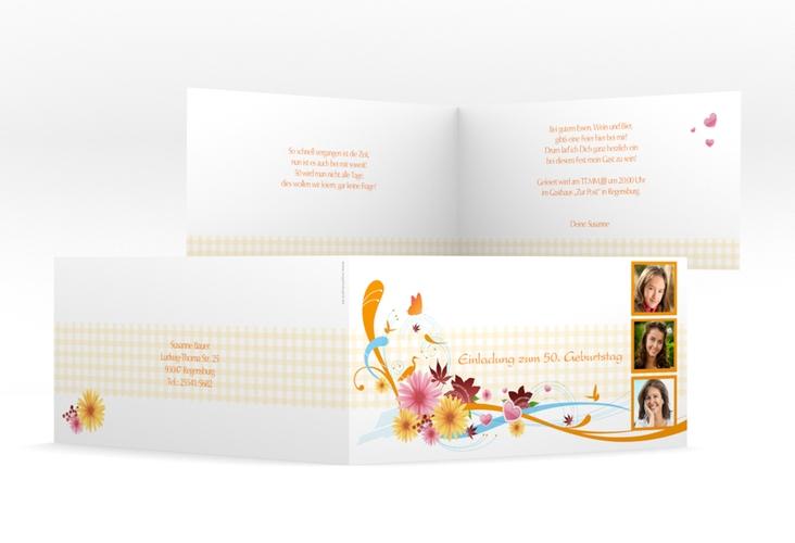 """Einladungskarte """"Elisabeth"""" DIN lang Klappkarte orange"""