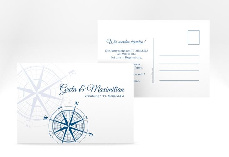 "Verlobungskarte Hochzeit ""Windrose"" A6 Postkarte"