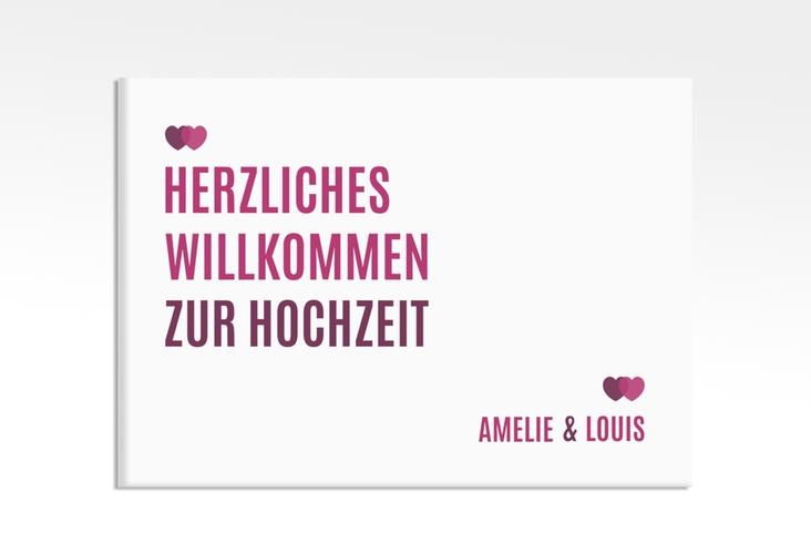 """Willkommensschild Hochzeit """"Couple"""" 70 x 50 cm Leinwand pink"""
