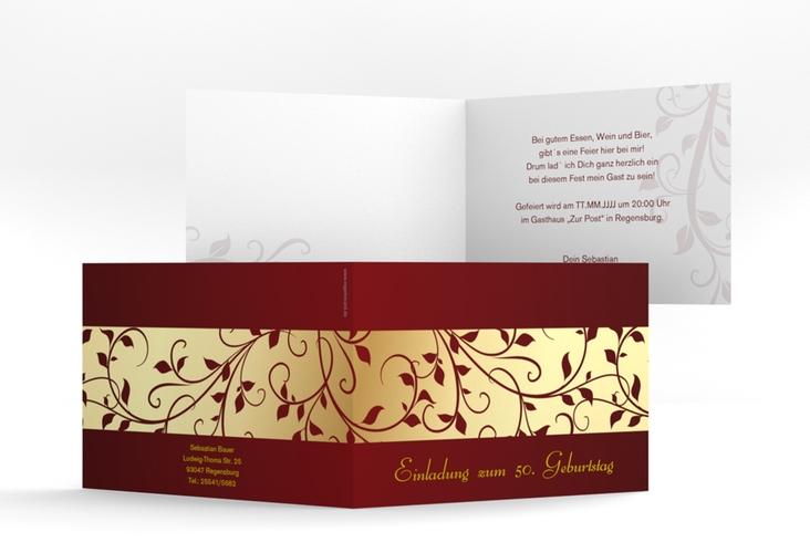 """Einladungskarte """"Hermann/Hermine"""" A6 Klappkarte Quer gold"""