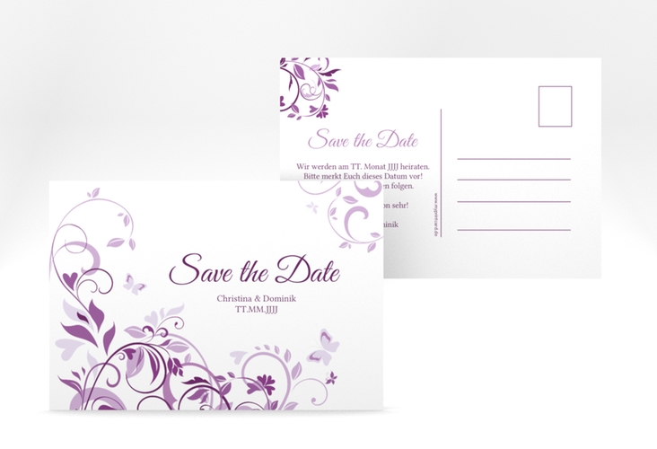 "Save the Date-Postkarte ""Lilly"" A6 Postkarte lila"