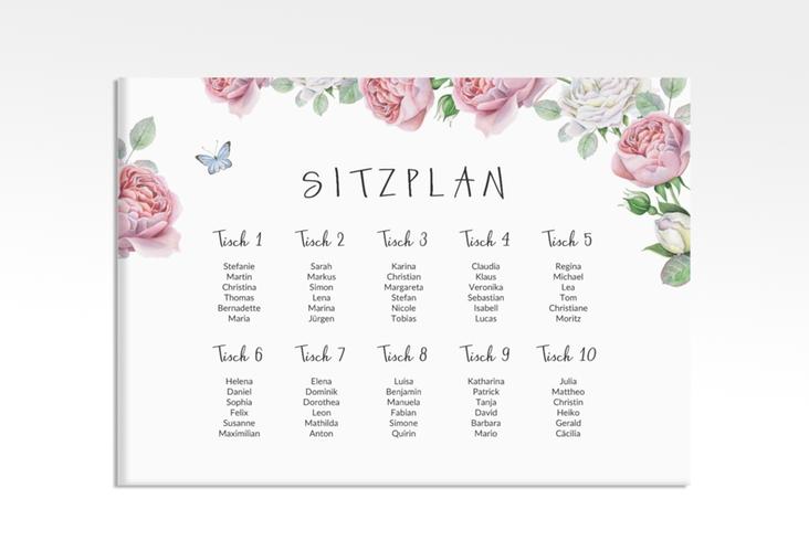 """Sitzplan Leinwand Hochzeit """"Primavera"""" 70 x 50 cm Leinwand weiss"""