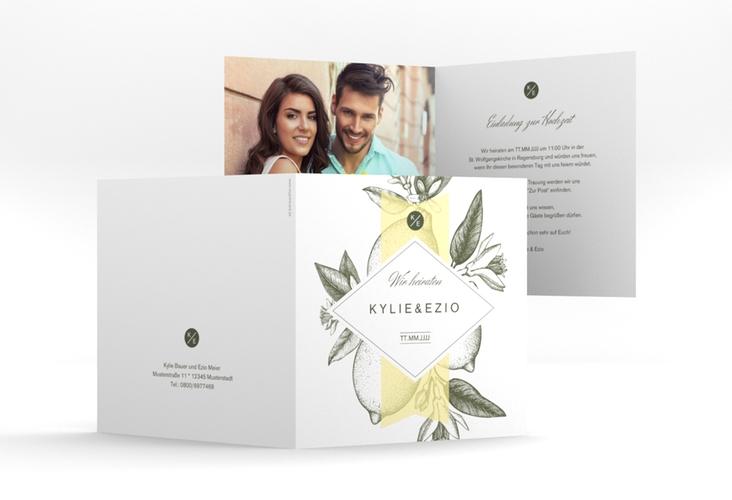 """Hochzeitseinladung """"Lemon"""" Quadratische Klappkarte"""