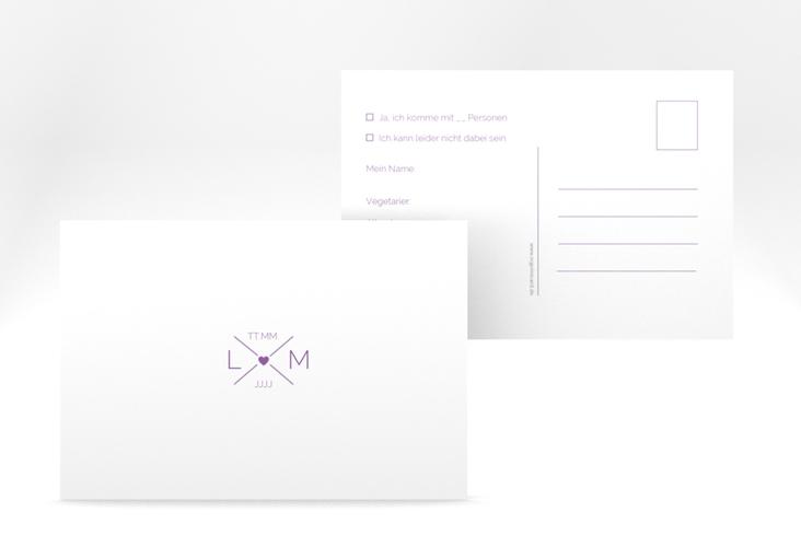 """Antwortkarte Hochzeit """"Initials"""" A6 Postkarte lila"""