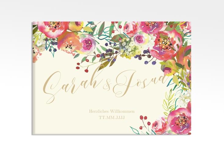 """Willkommensschild Hochzeit """"Flowerbomb"""" 70 x 50 cm Leinwand beige"""