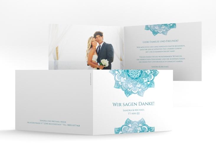 """Danksagungskarte Hochzeit """"Delight"""" A6 Klappkarte Quer tuerkis"""
