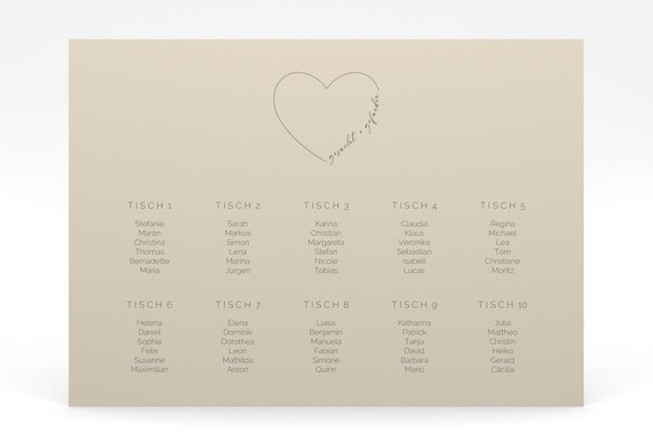 """Sitzplan Poster Hochzeit """"Lebenstraum"""" 70 x 50 cm Poster beige"""