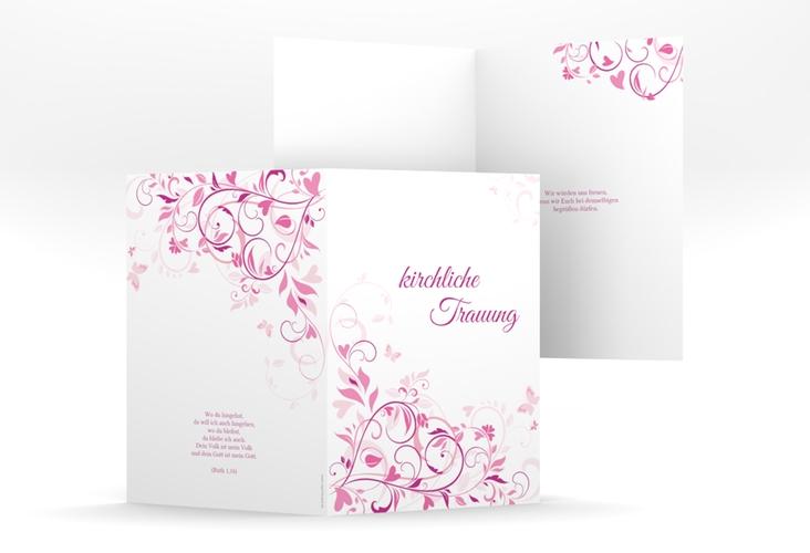 """Kirchenheft Hochzeit """"Lilly"""" DIN A5 geklappt pink"""