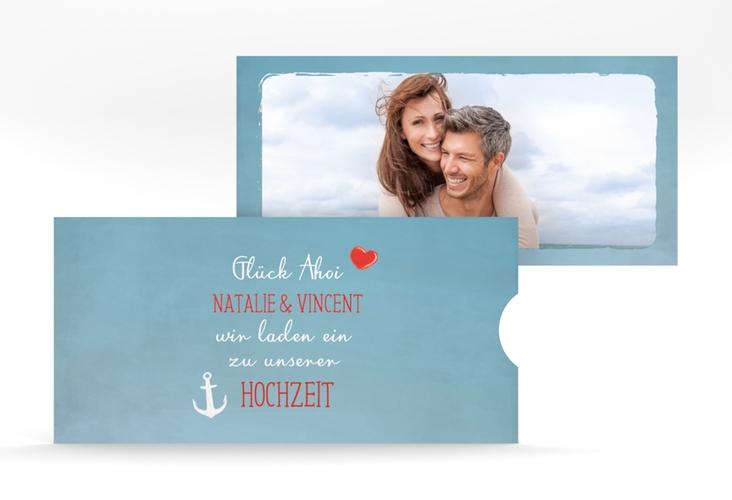 """Hochzeitseinladung """"Ehehafen"""" Einsteckkarte blau"""