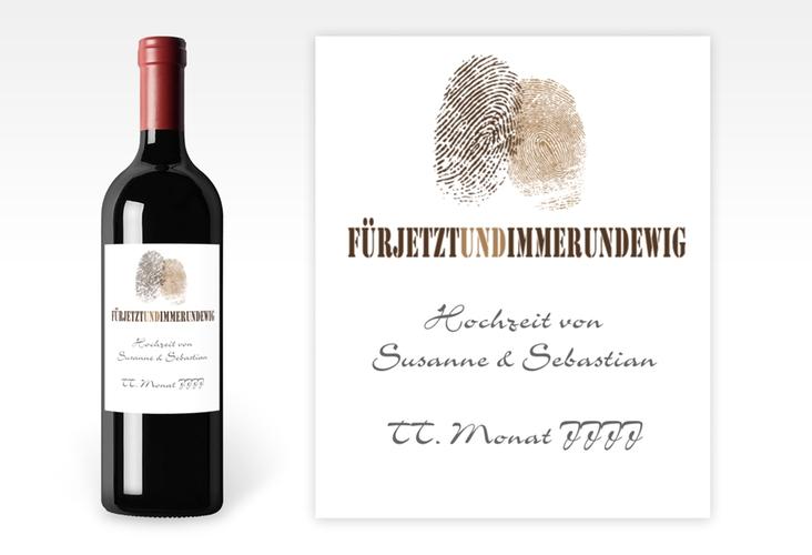 """Weinflaschenetikett Hochzeit """"Messina"""" Etikett Weinflasche 4er Set braun"""