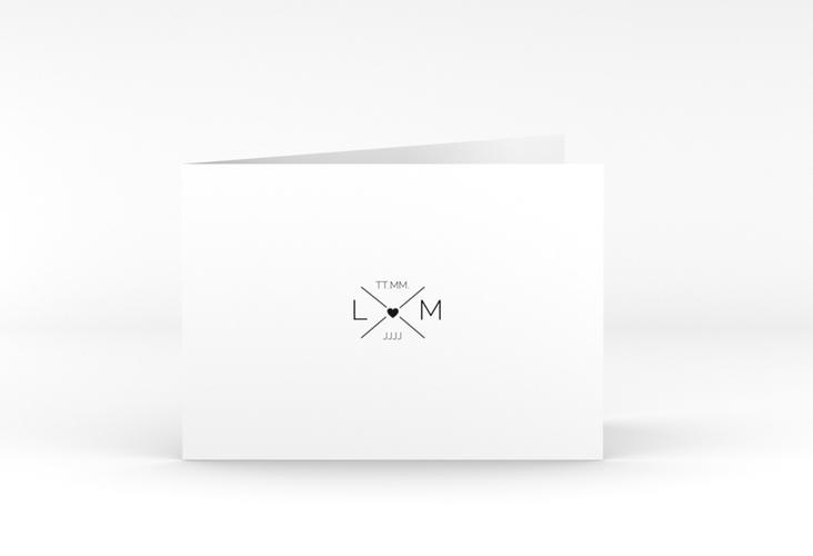"""Danksagungskarte Hochzeit """"Initials"""" A6 Klappkarte Quer"""