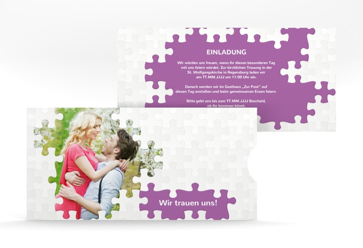 """Hochzeitseinladung """"Puzzle"""" Einsteckkarte lila"""