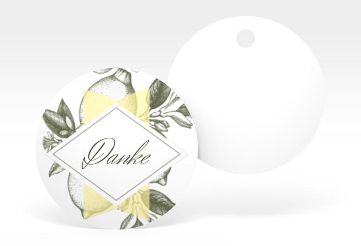 """Geschenkanhänger Hochzeit """"Lemon"""" Geschenkanhänger, rund"""