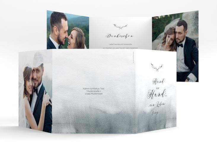 """Dankeskarte Hochzeit """"Divine"""" Quadr. Karte doppelt"""