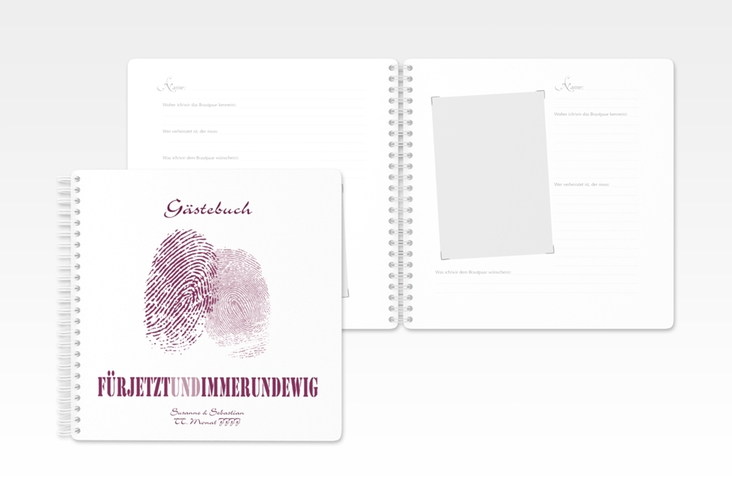 """Gästebuch Hochzeit """"Messina"""" Ringbindung lila"""