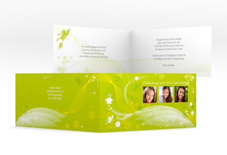 """Einladungskarte """"Claudia"""" DIN lang Klappkarte"""