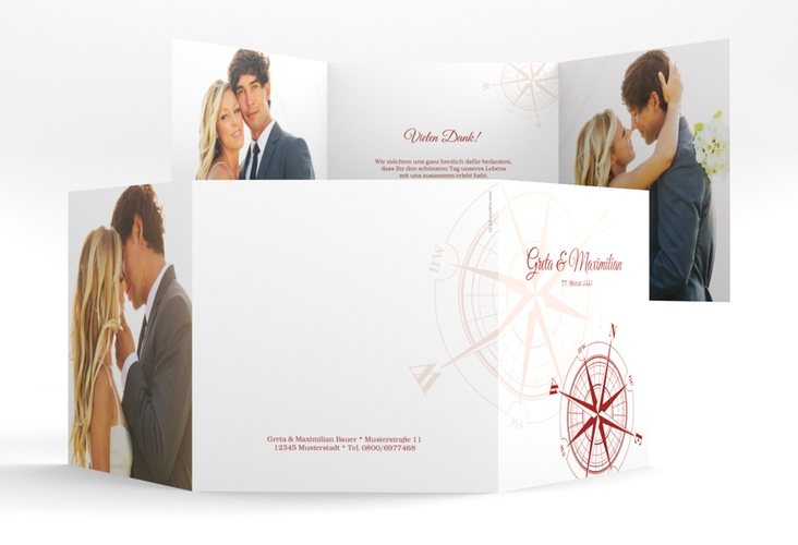 """Dankeskarte Hochzeit """"Windrose"""" Quadr. Karte doppelt rot"""