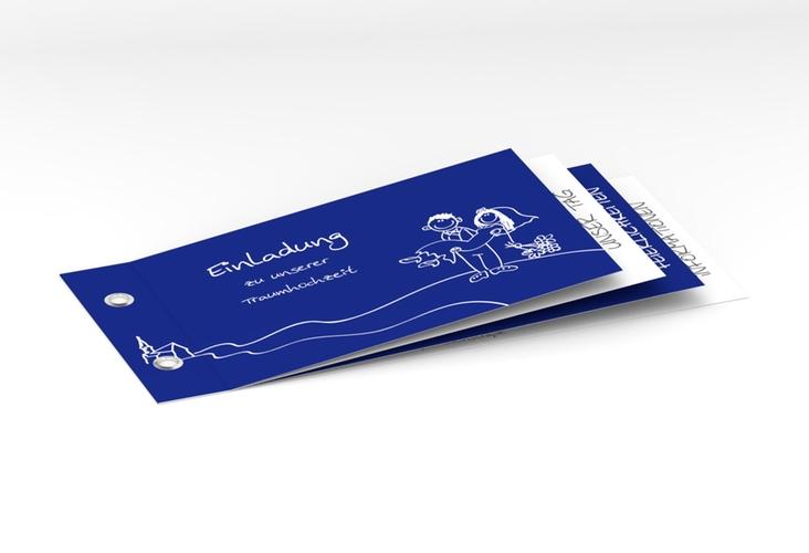 """Hochzeitseinladung """"Pisa"""" Booklet blau"""