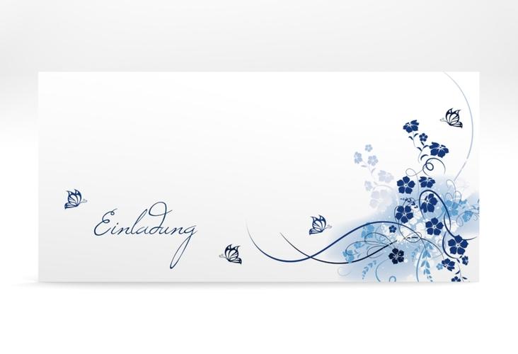 """Konfirmationseinladung """"Flos"""" DIN lang blau"""