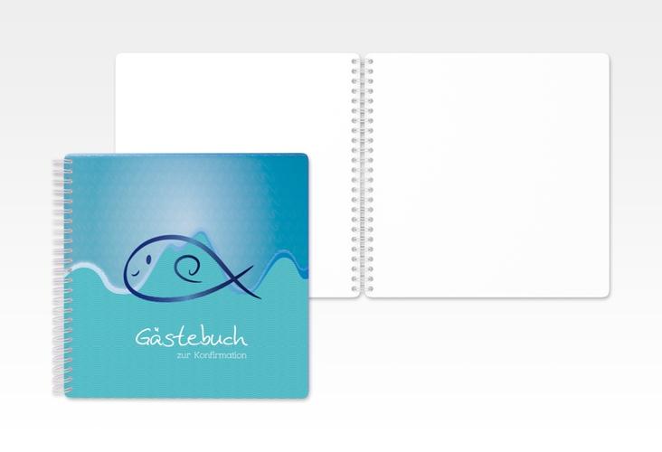 """Gästebuch Konfirmation """"Fisch"""" Ringbindung"""