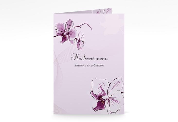 "Menükarte Hochzeit ""Modena"" DIN A5 geklappt lila"
