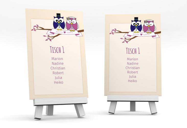 """Tischaufsteller Hochzeit """"Eulenliebe"""" Tischaufsteller"""