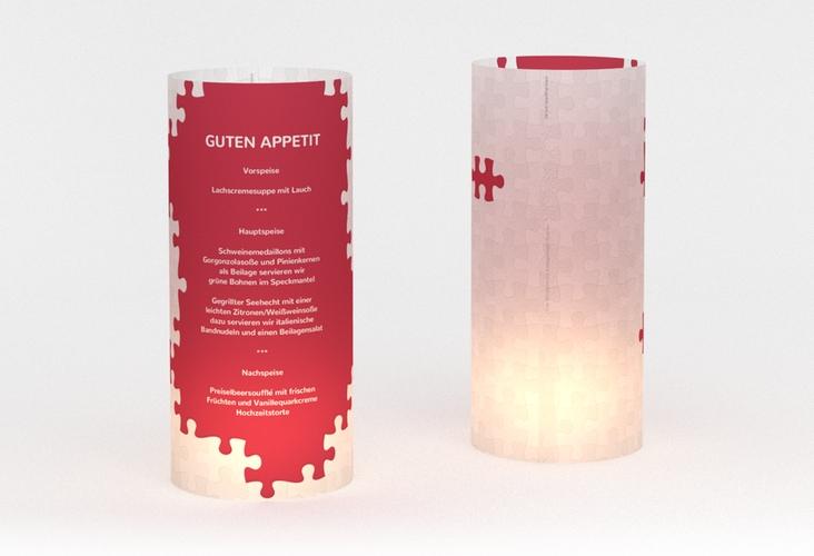 """Windlicht Menü Hochzeit """"Puzzle"""" Windlicht rot"""