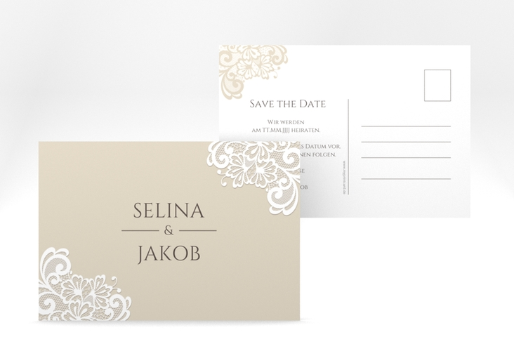 "Save the Date-Postkarte ""Vintage"" A6 Postkarte beige"